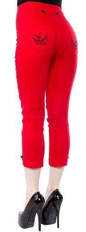 Ladies Pants - Steady Clothing Swallow Capri Red