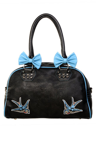 Banned Clothing Turquoise Swallows Bow bag|Poisonkandyklothing
