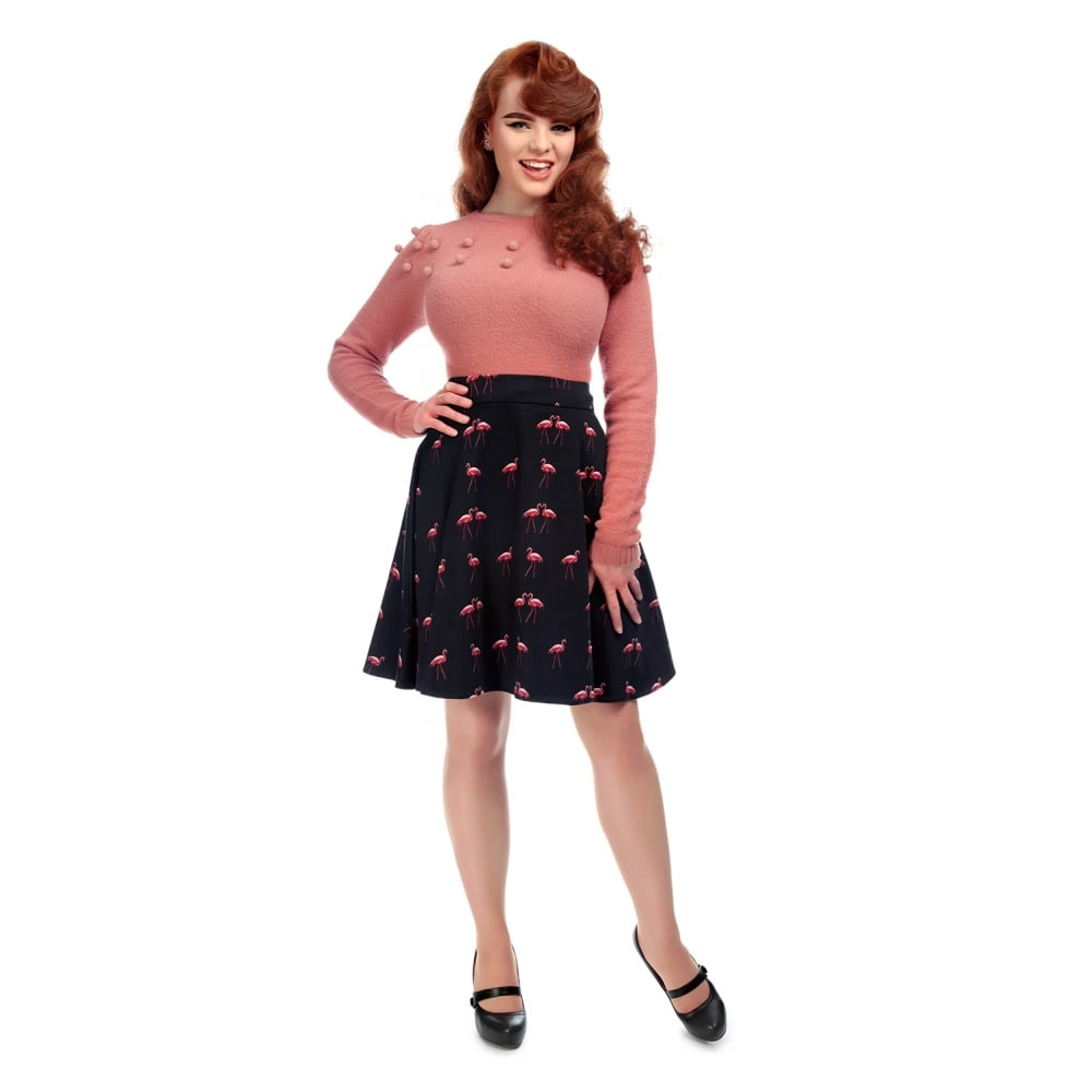 Collectif - Tammy Winter Flamingo skirt Black|Poisonkandyklothing