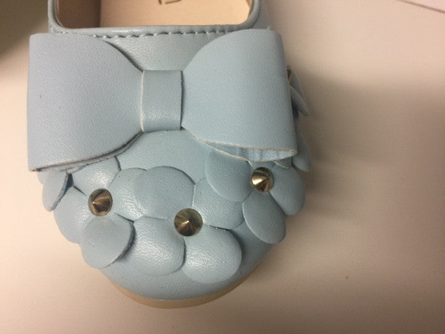 Kids Shoes - Sky Blue Flat Sandals with Studded Flowers