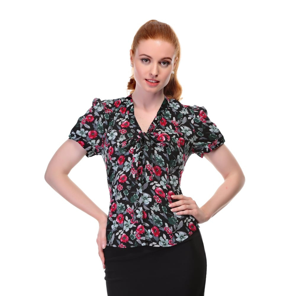 Collectif Vintage Tura Poppy Floral Blouse