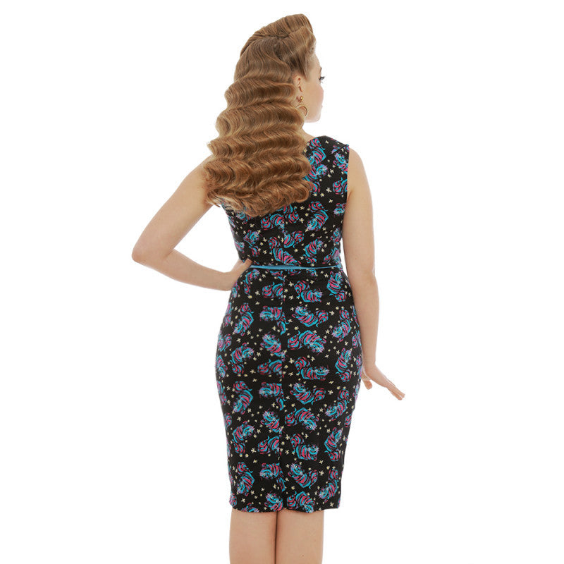 Lindy Bop - Vanessa Cheshire Cat Print Pencil Dress|Poisonkandyklothing