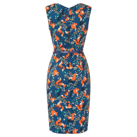 Lindy Bop Vanessa Indigo Fox Print Pencil Dress|Poisonkandyklothing