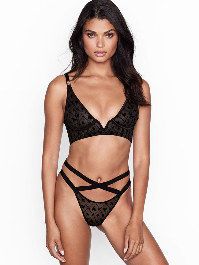 Victoria's Secret Logo Mesh V-wire Long Line Brallete - Victoria's Secret Angel shop