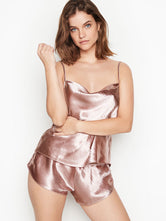 Victoria's Secret Cowl-Neck Satin Cami Set Silver