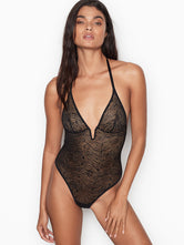 Victoria's Secret Zebra Lace Teddy Black