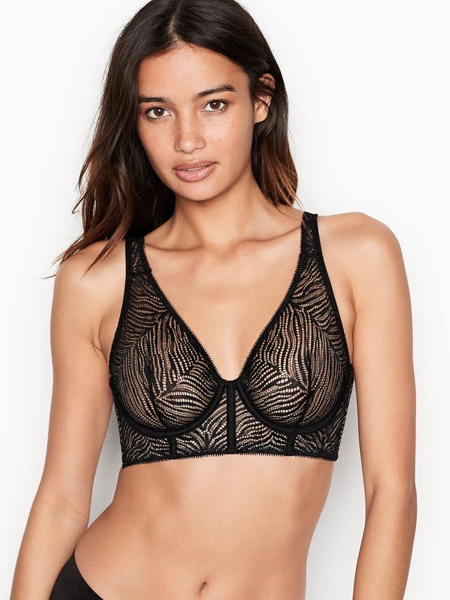 Victoria's Secret Zebra Lace Plunge Black Podprsenka - Victoria's Secret Angel shop