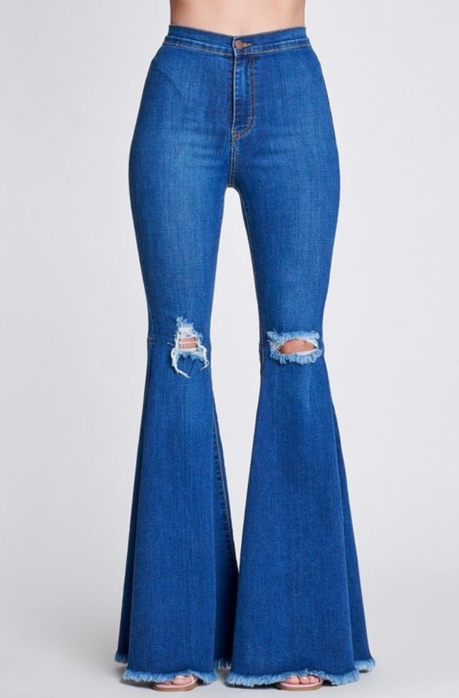 Blue Distressed Bottoms
