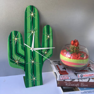 one off hand fabricated cactus clock