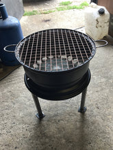 Load image into Gallery viewer, Bbq and steel wheel firepit.