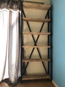 Bookcase - handmade from metal and reclaimed wood