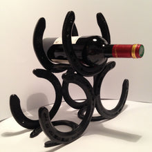 Load image into Gallery viewer, Table Top Wine Rack, Hand Crafted from Used Horseshoes