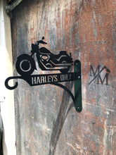 Load image into Gallery viewer, Harleys Only wall mounted raw metal sign.