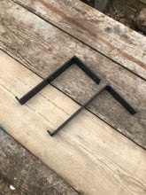 Load image into Gallery viewer, A pair of rustic steel industrial style lipped shelf brackets