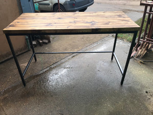 Wooden topped work bench