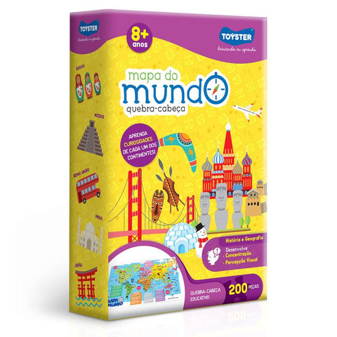 Quebra-cabeca Cartonado Mapa Do Mundo 200pcs - Toyster