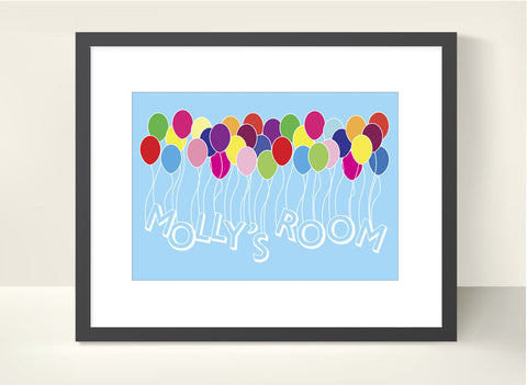 Kids Balloon Room Sign - Personalised Print - Prints With Feelings