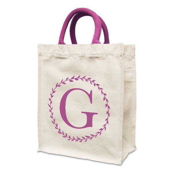 Personalised Letter Bag | Natural canvas 8oz Handy Shopper 21x26x12cm, Coloured Handles. Gusset - Prints With Feelings