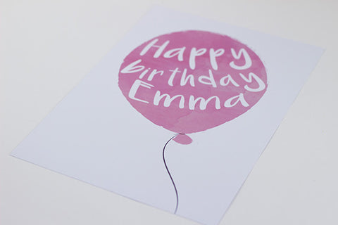 Happy Birthday - Personalised Balloon Print - Prints With Feelings  - 2