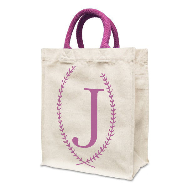 Personalised Letter Shopping Bag | Natural canvas 8oz Handy Shopper 21x26x12cm, Coloured Handles. Gusset - Prints With Feelings