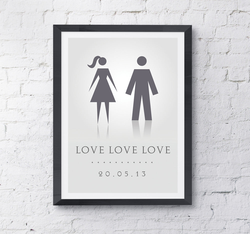 Date Of Love Personalised Print - Prints With Feelings