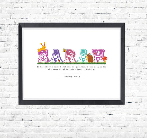 Fun Animal Name Print - Personalised For Kids - Prints With Feelings