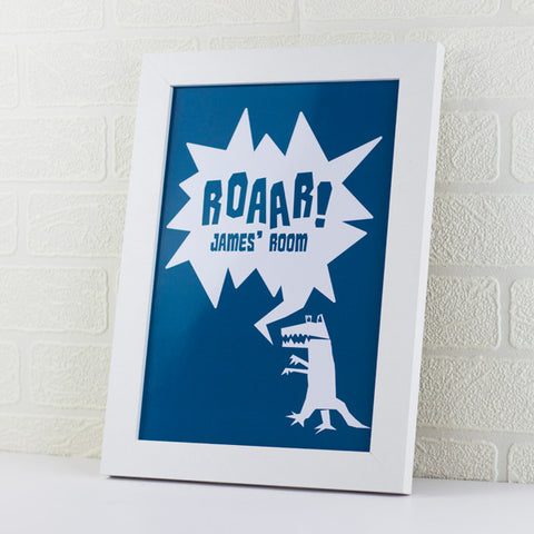 Dinosaur Kids Personalised Room Print - Prints With Feelings  - 1
