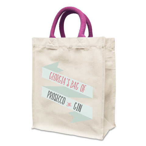 Personalised Prosecco Bag | Natural canvas 8oz Handy Shopper 21x26x12cm, Coloured Handles. Gusset - Prints With Feelings