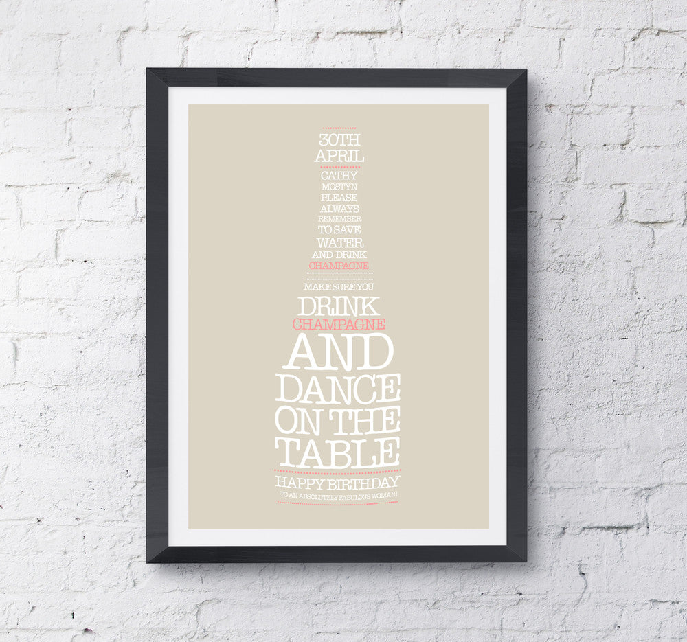 Champagne Bottle Personalised Print - Prints With Feelings  - 1