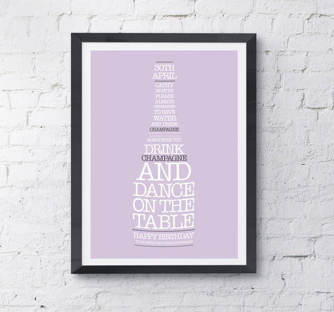 Champagne Bottle Personalised Print - Prints With Feelings  - 2