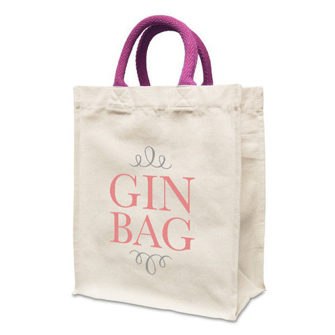 Gin Bag | Natural canvas 8oz Handy Shopper 21x26x12cm, Coloured Handles. Gusset - Prints With Feelings