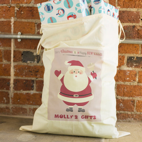 Personalised Santa Sack | Child's Name Bag | Drawstring Canvas - Prints With Feelings  - 2