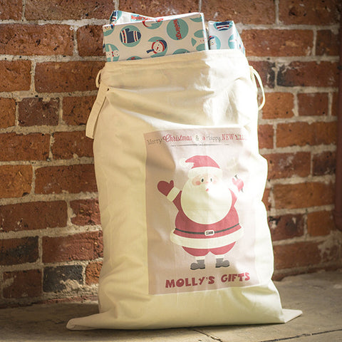 Personalised Santa Sack | Child's Name Bag | Drawstring Canvas - Prints With Feelings  - 1