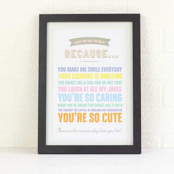 You Are The Best Because | Personalised Print - Prints With Feelings  - 1