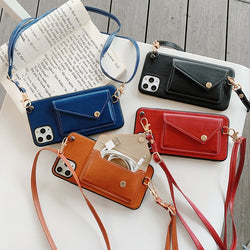 Multi-Function  Shoulder Strap Leather Wallet Case
