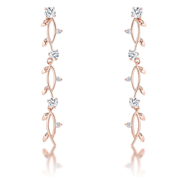 Vine Design Rose Gold Plated Earrings