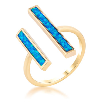 18k Gold Plated Double Bar Blue Opal Ring