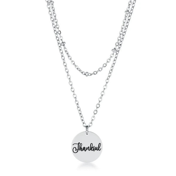 "Delicate Stainless Steel ""Thankful"" Necklace"