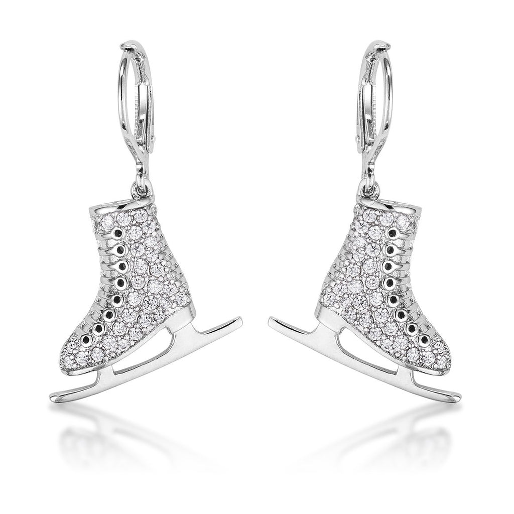 Rhodium Plated Ice Skate Earrings
