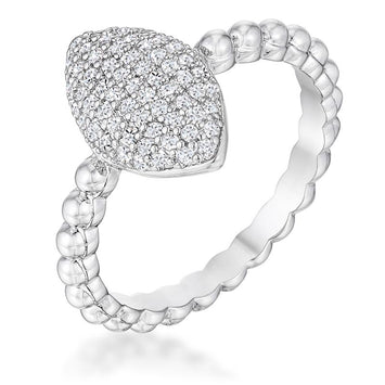 Oval Rhodium CZ Ring