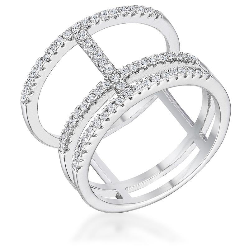 Rhodium Parallel Ring with Brilliant CZ