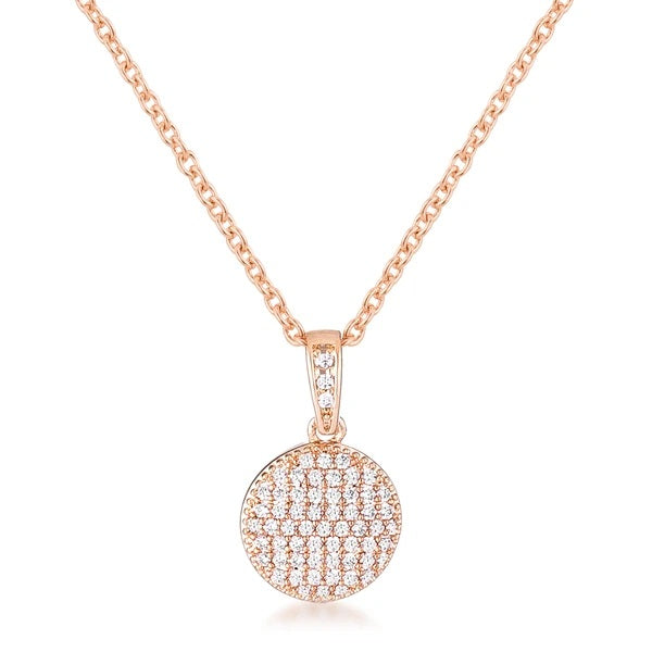 Rose Gold Plated Necklace with CZ Disk Pendant