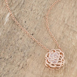 Rose Gold Plated CZ Rose Drop Pendant