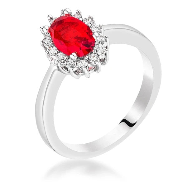 Ruby Red CZ Petite Oval Ring