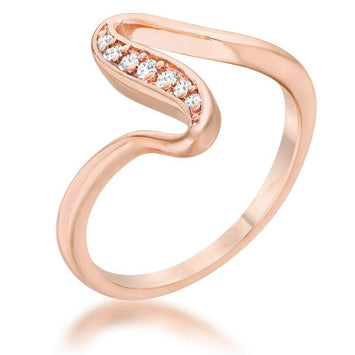 Sydney CZ 14k Rose Gold Simple Wave Ring