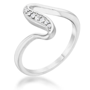 Sydney CZ Rhodium Simple Wave Ring
