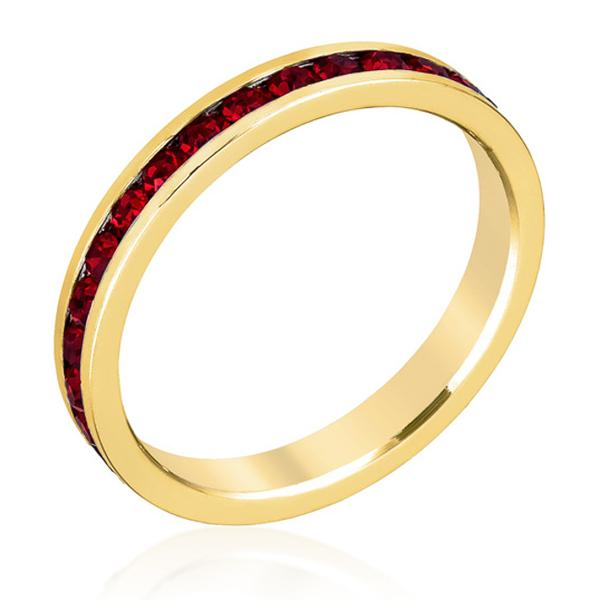 Stylish Stackables with Garnet in Gold Crystal Ring