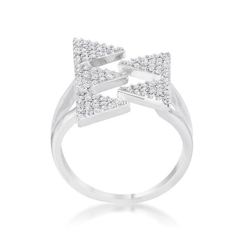 Rhodium Geometric Contemporary CZ Ring
