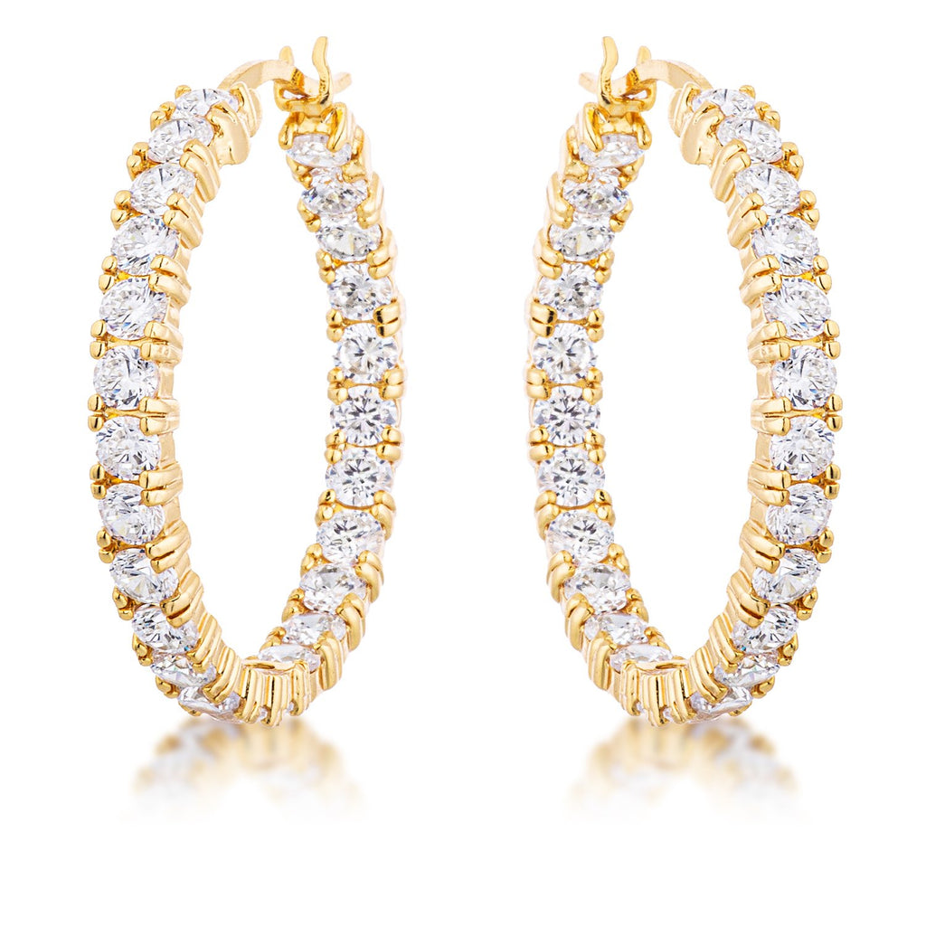 18k Gold Plated Eternity Hoop Earrings
