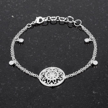 Rhodium CZ Bracelet with Interlocking Circles